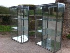 Pair of chromed display cases