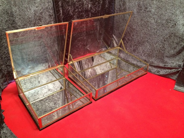 Set of two vintage shop display cases