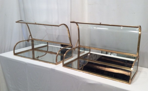 Pair of vintage counter desk display cases