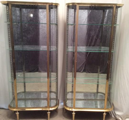 Pair of vintage shop display cabinets.