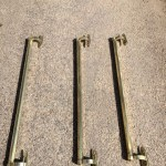 Three antique brass shop door handle knob