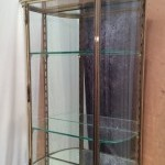 Vintage pair of wall display cases on consoles (reserved)